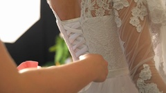 Woman preparing for wedding Stock Footage