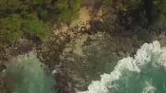 Scenic Secluded Beach, Le Perouse, Maui Wide Angle Beach To CLose Up Water. Stock Footage