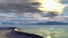 Fantasy alien planet. Mountain, lake and sunrise. Animation Stock Footage
