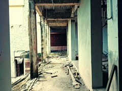 Dangerous walk through gloomy abandoned place. Horror movie scene concept Stock Footage