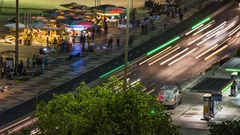 Time lapse of Copacabana beach, evening, people and cars traffic, Rio de Janeiro Stock Footage