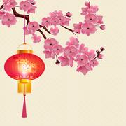 Red Chinese lanterns hanging on a branch of cherry blossoms with purple flo.. Stock Illustration