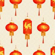 A set of orange Chinese Lanterns. Sakura and the golden cock. Round and cyl.. Stock Illustration
