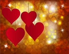 Red heart on a celebratory background. Postcard in honor of Valentine s Day.. Stock Illustration
