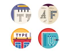 Type font pixel perfect icons set Stock Illustration
