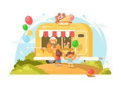 Ice cream van Stock Illustration
