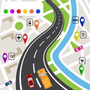 Road infographics. Winding road with markers on the map terrain. The path s.. Stock Illustration