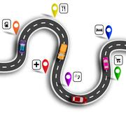Infographic. Winding road with signs. 3D. Cars. The path indicated by the n.. Stock Illustration
