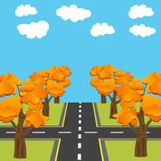 Crossroads equivalent of roads in the future. Alley Autumn oaks illustration Stock Illustration