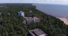 Hotel building on the waterfront Stock Footage