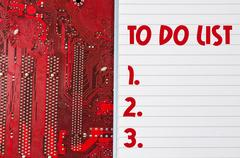 Red old dirty computer circuit board and to do list text concept Stock Photos