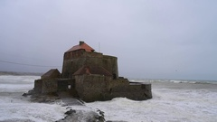 Fort Mahon at Ambleteuse during winter storm along the North Sea coast, France Stock Footage