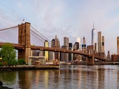 Brooklyn bridge New York city dawn to day Timelapse 4k Stock Footage