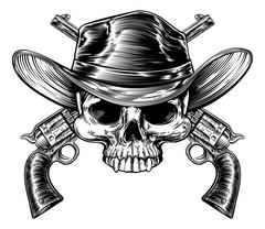 Skull Cowboy and Guns Stock Illustration