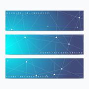 Modern set of vector banners. Geometric abstract presentation. Molecule DNA and Stock Illustration