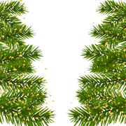 Green lush branch of spruce, with two sides decorated with gold confetti. F.. Stock Illustration