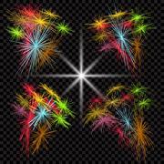 Set of colored fireworks exploding in the dark cell. illustration Stock Illustration