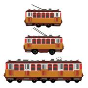 Vintage tram, electric train, trolleybus. Retro. Detail view of the side of.. Stock Illustration