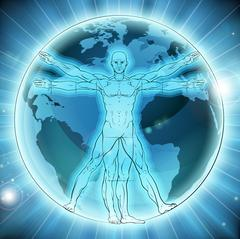 Vitruvian Man Earth Globe World Background Stock Illustration