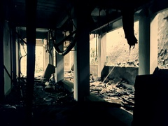 Destroyed abandoned building. Depressing movie scene. Post-apocalyptic concept Stock Footage