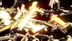 Abstract CGI motion graphics with flying pistols Stock Footage
