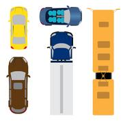 A set of five cars. Coupe, convertible, station wagon, cargo van, bus. View.. Stock Illustration