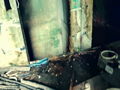 Post-apocalyptic abandoned ruins. Horror movie scene. First-person perspective Stock Footage