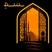 The Muslim holiday of Ramadan. Postcard in the form of an arch. Golden arch.. Stock Illustration
