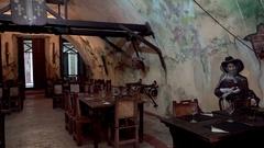 Pirate style Interior of the restaurant in La Cabana fort. Havana, Cuba Stock Footage