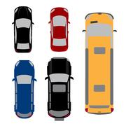 Set of five cars. Coupe, sedan, wagon, SUV, minivan. View from above. illus.. Stock Illustration