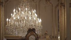 Festetics castle, vintage old antique rooms and furnitures, musem, in Europe Stock Footage
