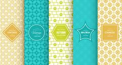 Retro different vector seamless patterns Stock Illustration