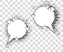Comic speech bubbles with halftone shadows. Vector illustration eps 10 isolated Stock Illustration