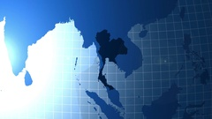 Thailand. Map. Zooming into Thailand on the globe. Stock Footage