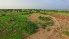 The drone fly green African on a plain near a lake. Stock Footage