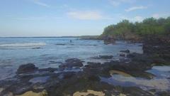 Aerial Deserted rocky Island Beach. Le Perouse, Maui, Beach Jib Up Stock Footage