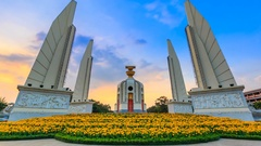 Democracy Monument Of Thailand 4K Day to Night Time Lapse (zoom in) Stock Footage