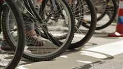 Close up of many bike wheels stopped Stock Footage