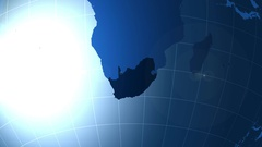 South Africa. Map, Zooming into South Africa on the globe. Arkistovideo