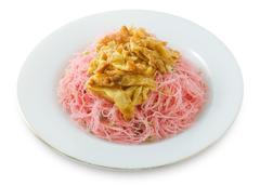 Red Stir Fried Rice Vermicelli Stock Photos