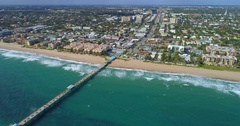 Aerial video of the Anglin's Fishing Pier Fort Lauderdale FL 4k Stock Footage
