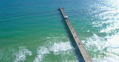Aerial video of the Anglin's Fishing Pier Fort Lauderdale FL Stock Footage