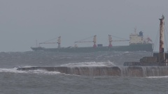SHIP IN STORM AT SEA. Ungraded. HD. Stock Footage