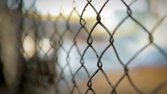 Metal fence in south american latin city Pull focus on protective security Stock Footage