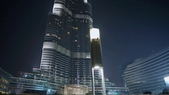 The Dubai Fountain on October 15, 2014 in Dubai, UAE. The Dubai Fountain is the Stock Footage