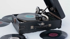 Old Gramophone Record Playing in the snow Stock Footage