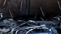 Metal recycling bin shredder waste crusher Stock Footage