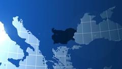Bulgaria. Map. Zooming into Bulgaria on the globe. Stock Footage