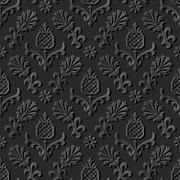 Dark 3D paper art nature garden flower pineapple fruit Stock Illustration