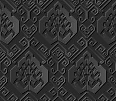 Seamless 3D dark paper cut art oriental spiral geometry line Stock Illustration